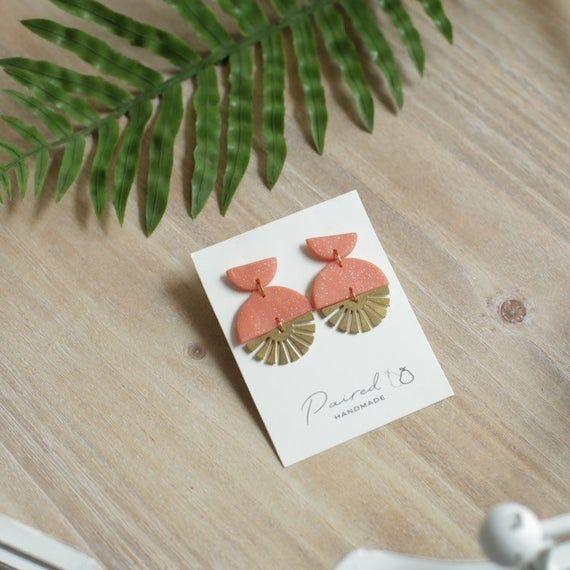 Sunbeam Brass Charm Earrings // Handmade Earrings // Polymer Clay Earrings // Statement Earrings //