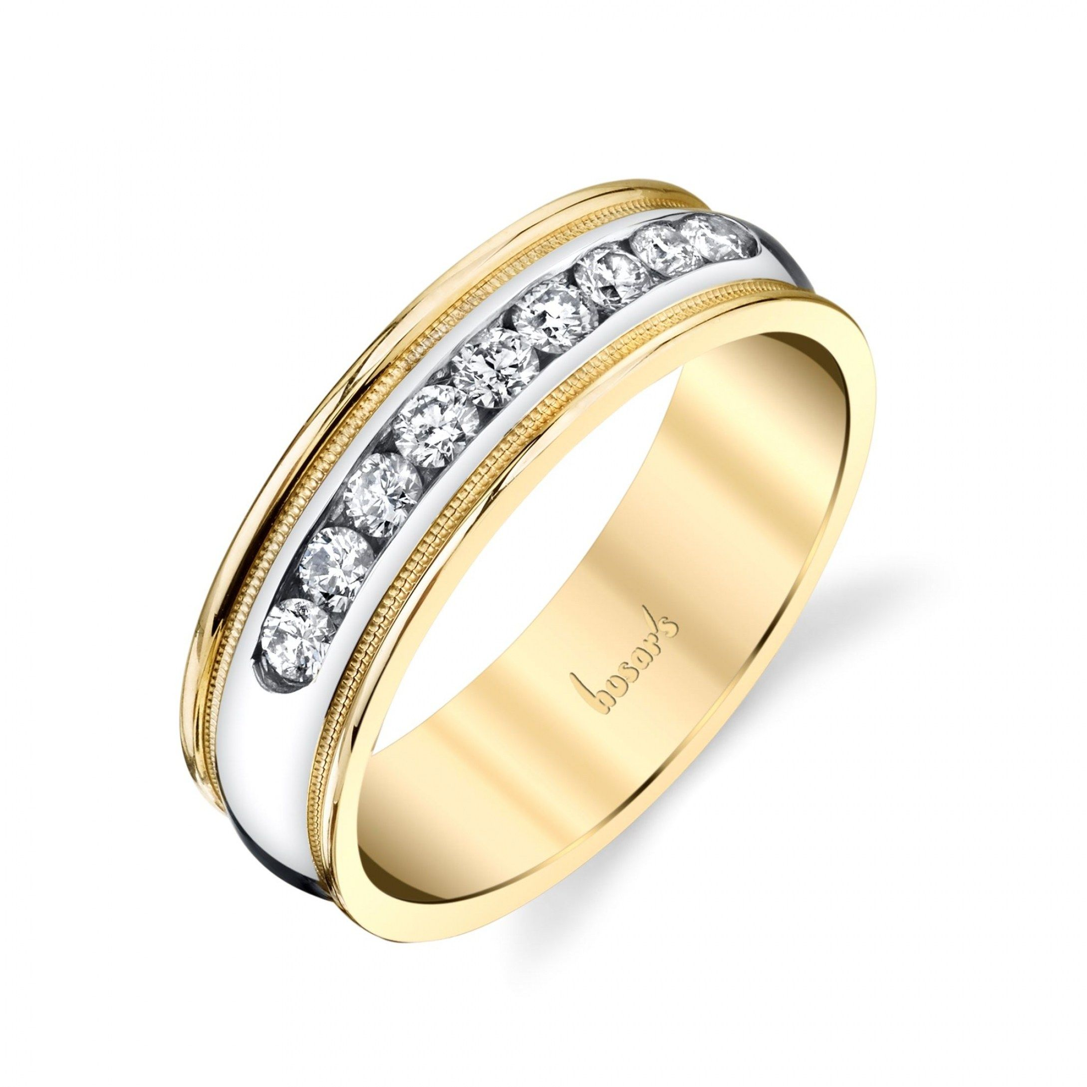 gold band philippe charriol steel yellow wedding bands pin ring