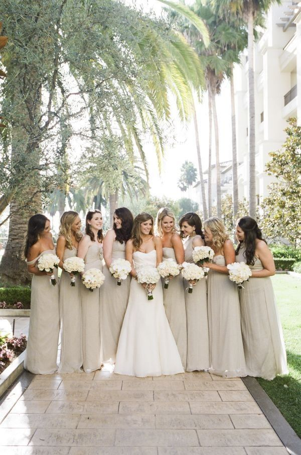 Taupe bridesmaid\'s dresses with simple ivory bouquets #beautiful ...