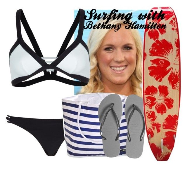 """""""surfing with Bethany Hamilton"""" by reaganbalentyne ❤ liked on Polyvore featuring River Island, Rip Curl and Havaianas"""
