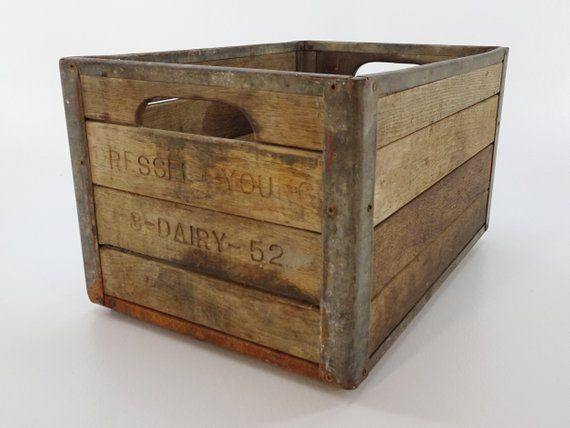 1950s Vintage Wood And Steel Wooden Milk Crate From Dressel Young