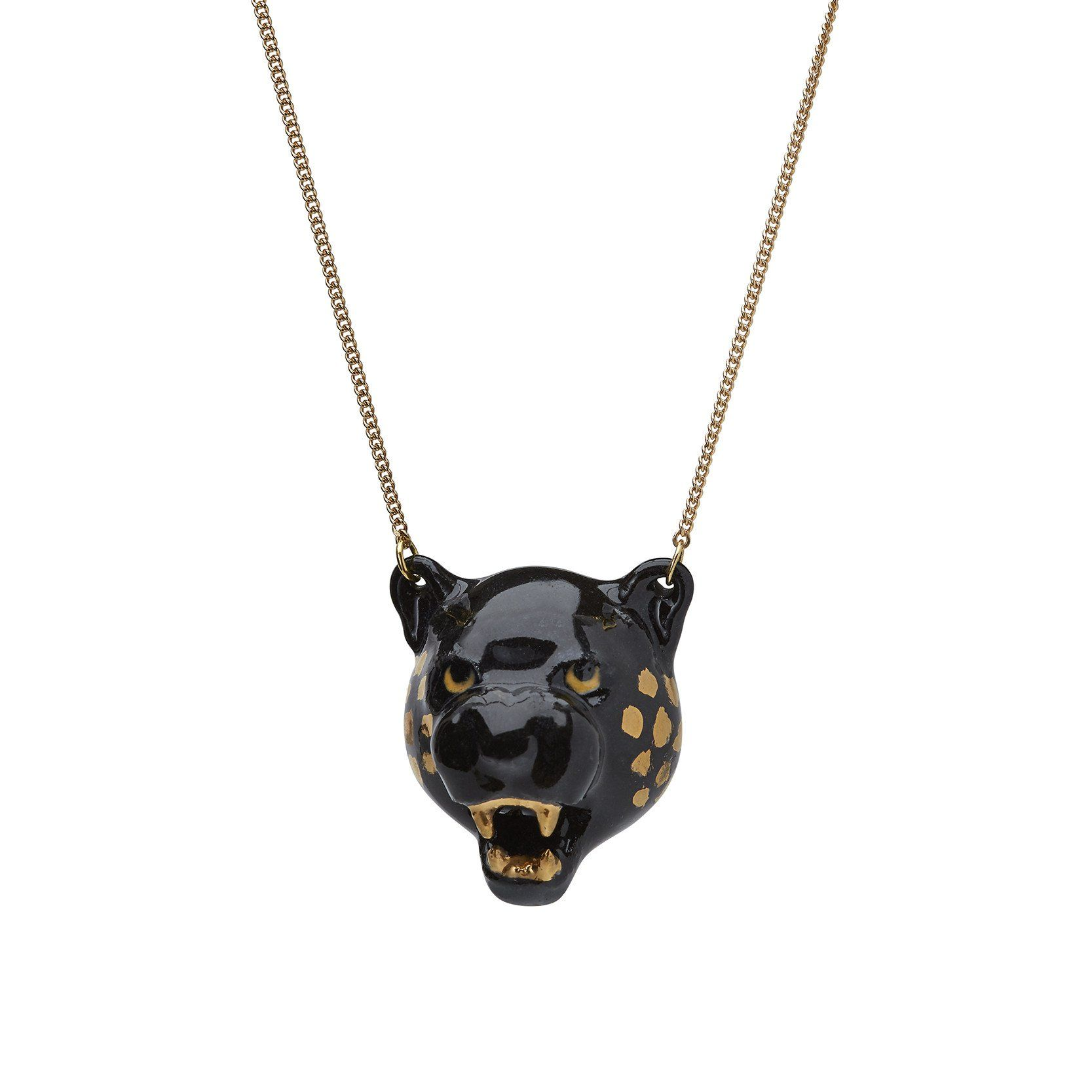 Black Jaguar Growl: Black Panther Necklace, Panther