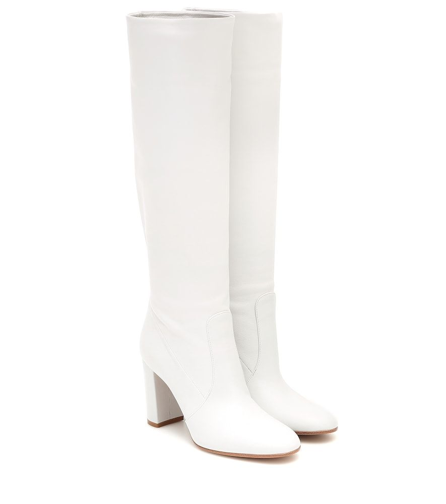 Gianvito Rossi Slouch 85 Leather Knee High Boots Gianvitorossi Shoes Knee High Leather Boots White Leather Boots White Heel Boots