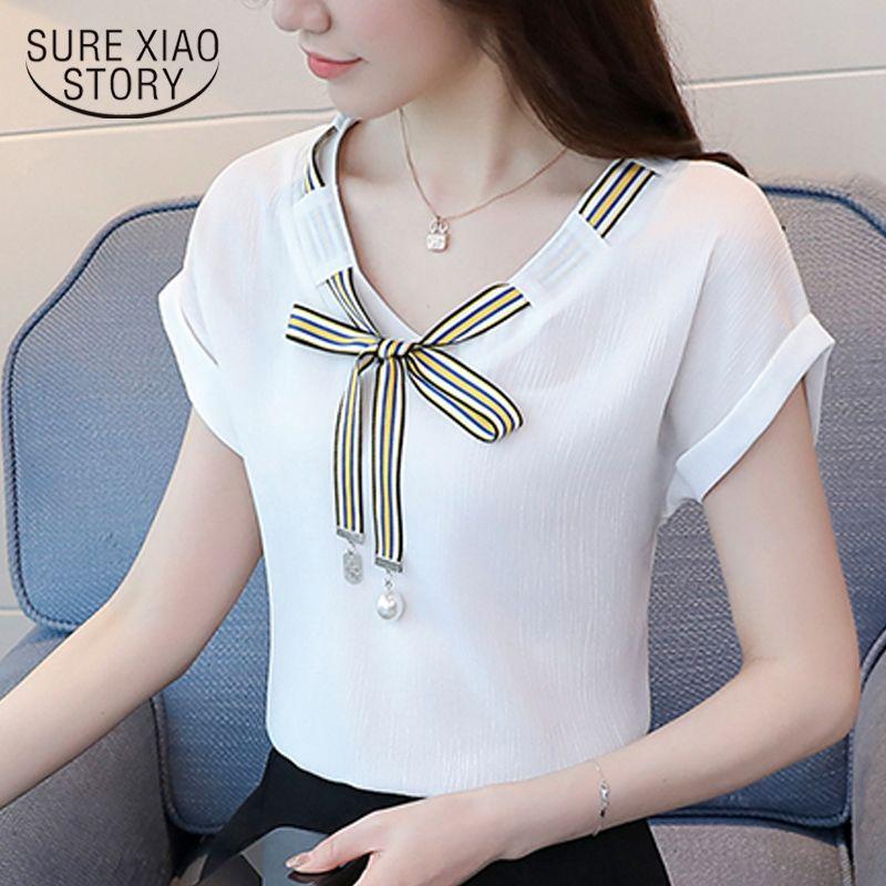 59f49fd0833c Barato 2018 moda manga curta chiffon blusa mulheres camisa arco verão das mulheres  com decote em v tops camisas blusas roupas doces das mulheres D715 30, ...