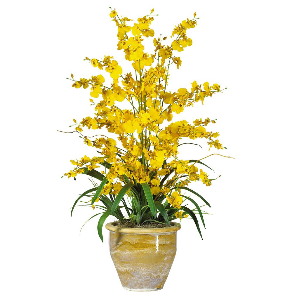Nearly Natural 32 In Triple Dancing Lady Silk Flower Arrangement In Yellow 1070 Yl The Home Depot Artificial Flower Arrangements Silk Flower Arrangements Artificial Flowers