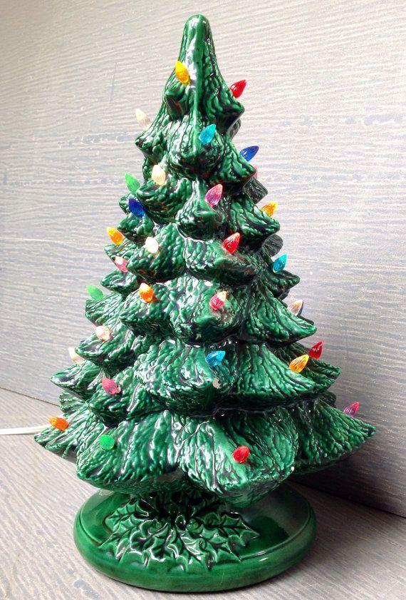 Green ceramic 135 lighted Christmas Tree by Trinityvintagemarket