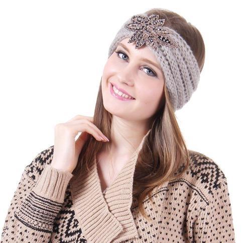 14.99$  Buy now - http://vivfz.justgood.pw/vig/item.php?t=xijxrh11922 - Gray Iris shiny elements Knit Fashion Head wrap