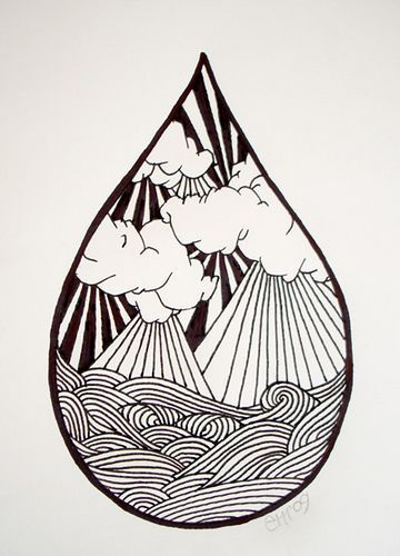 might be the only way to incorporate waves without it ...Waves Drawing Tattoo
