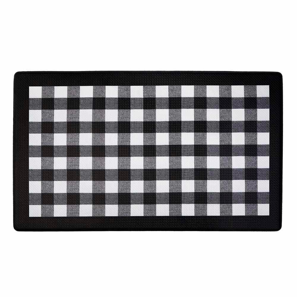 Achim Buffalo Check Black 18 In X 30 In Anti Fatigue Mat Products Anti Fatigue Kitchen Mats Kitchen Mat Y Kitchen Curtains