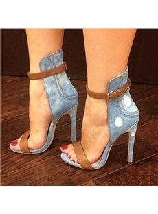59d368b9b Stylish Denim Ankle Strap Stiletto Sandals - Shoespie.com