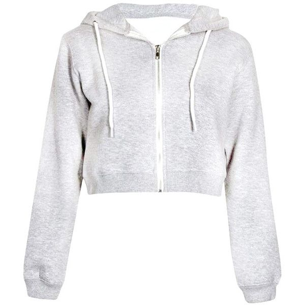 Crop Zip Up Hoodie In Marl Grey 13 Liked On Polyvore Featuring