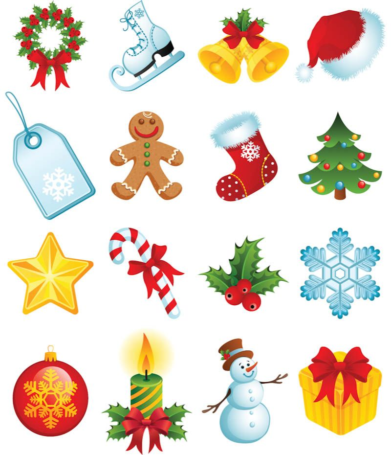 Christmas Cartoon Elements Vector Christmas Icons Free Clip Art Christmas Nail Art