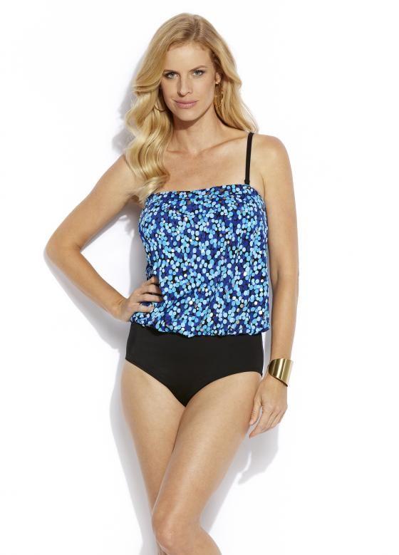 515604793f Jantzen Classic Fit Bandeau One Piece Swimsuit. Color blue 969. This bathing  suit is