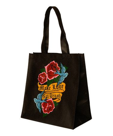 Take a look at this Black & Red Tattoo Tote by Make Love Not Trash on @zulily today!