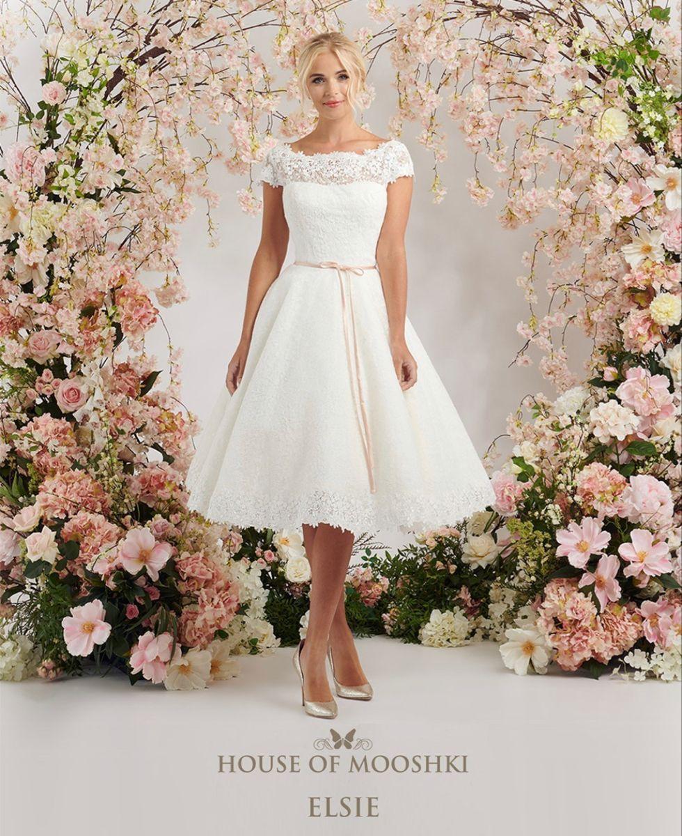 Elsie Cute Vintage Inspired Wedding Dress By House Of Mooshki In 2021 Tea Length Wedding Dress Short Wedding Dress Vintage Inspired Wedding Dresses [ 1200 x 980 Pixel ]