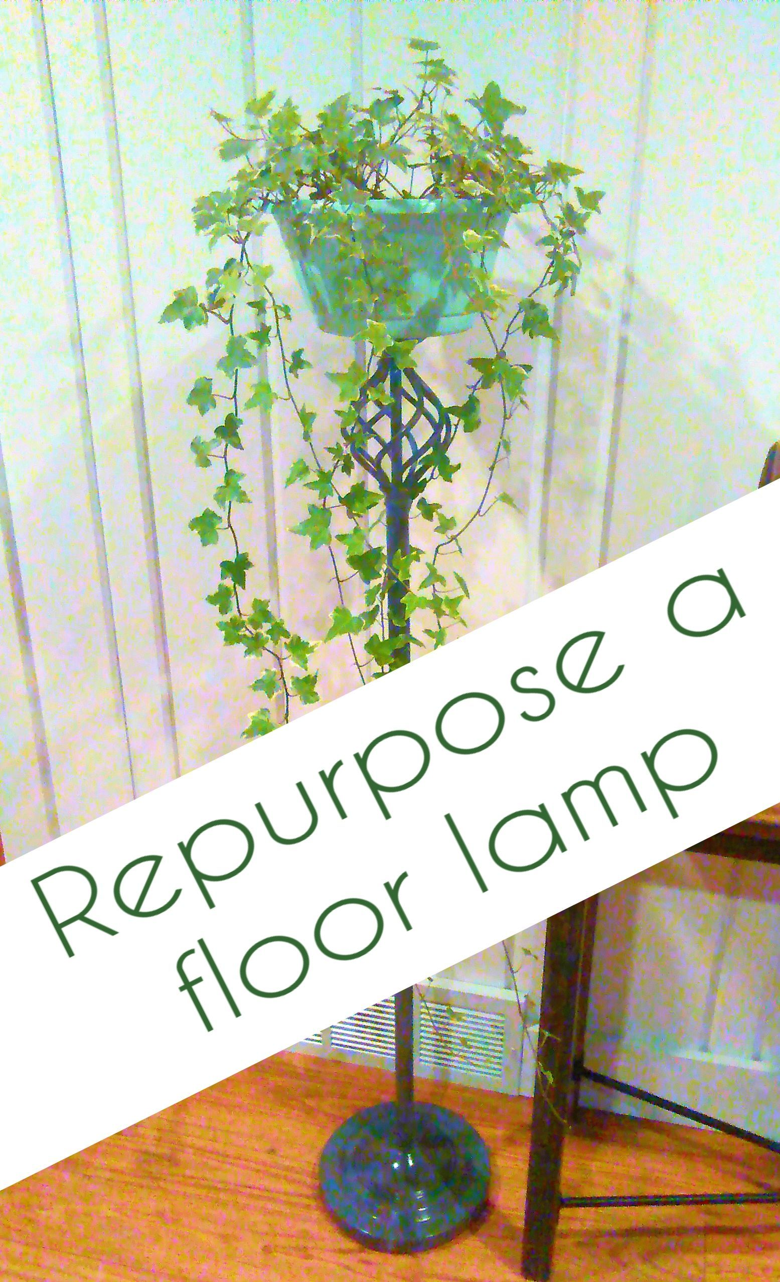 Repurpose an old floor lamp into a plant stand.  #repurpose #upcycle #diyplantstand