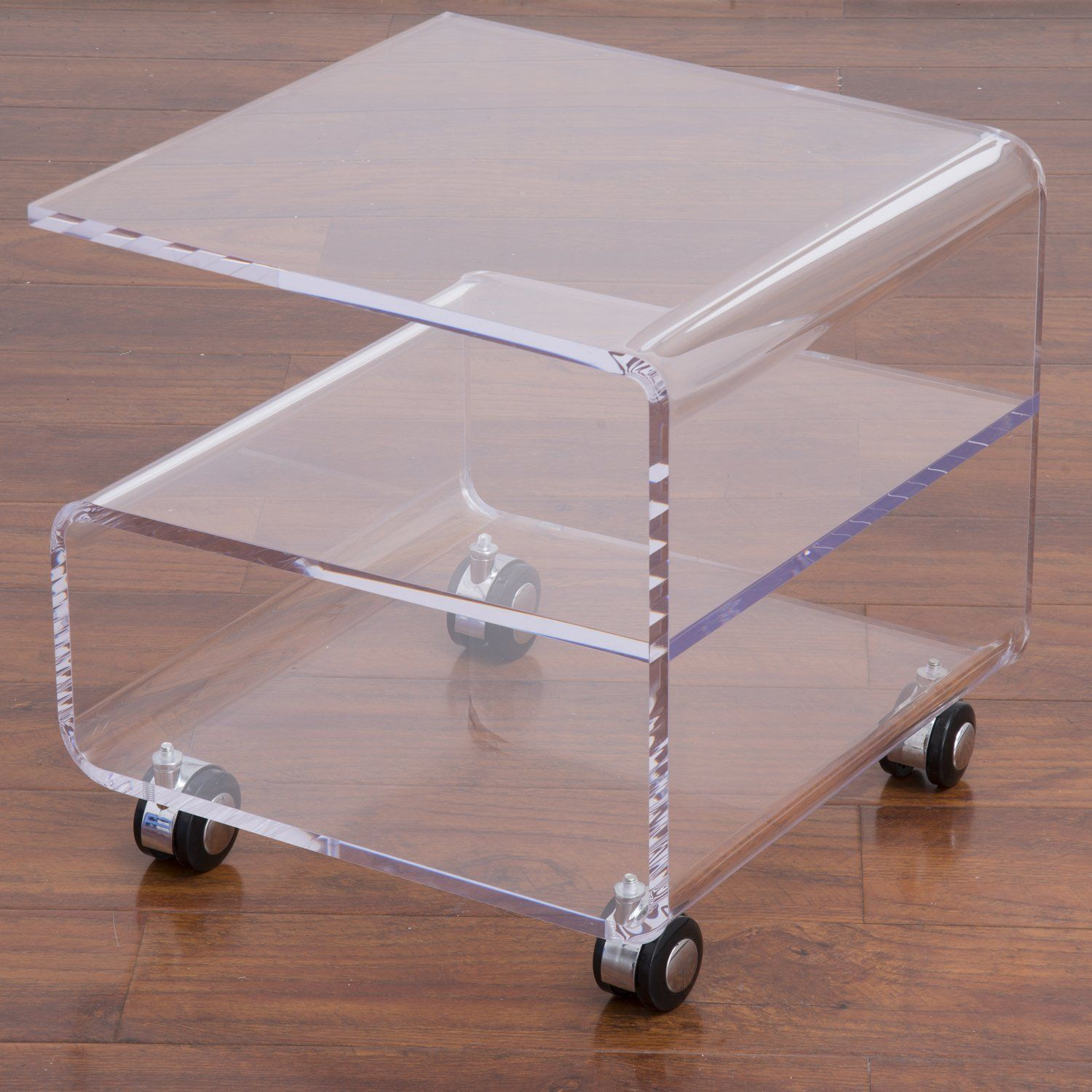 homcom transparent acrylic tea coffee table side end table trolley  - homcom transparent acrylic tea coffee table side end table trolley teapoyw wheels amazoncouk kitchen  home  lucite furniture  pinterest bearing