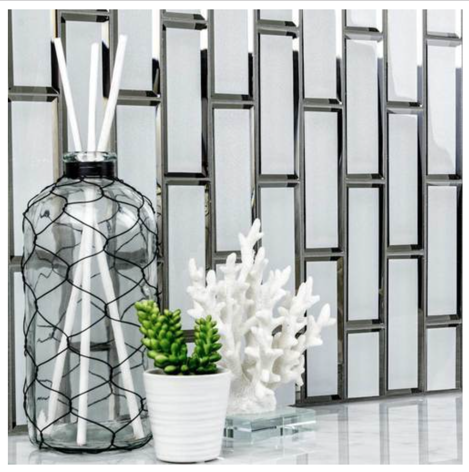 Glass Subway Tile Inverted Bevel Mirror White 2x6 Glass Mirror Tiles Glass Subway Tile Mirrored Subway Tile