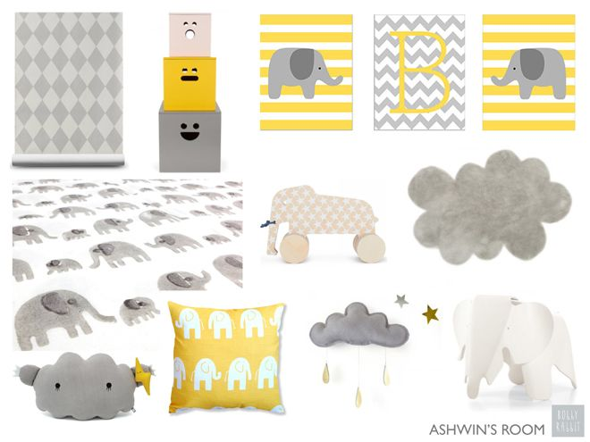 Dream Clouds And Elephants Grey Yellow Nursery Design By Bobby Rabbit