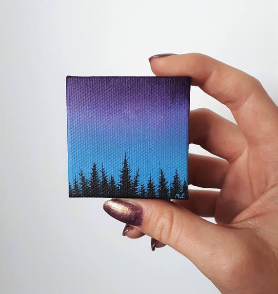 Forest Silhouette Painting, Forest At Dusk, Blue Purple Sky, Nature Painting, Miniature Artwork, Tiny Art, Forest Painting, Artwork For Desk