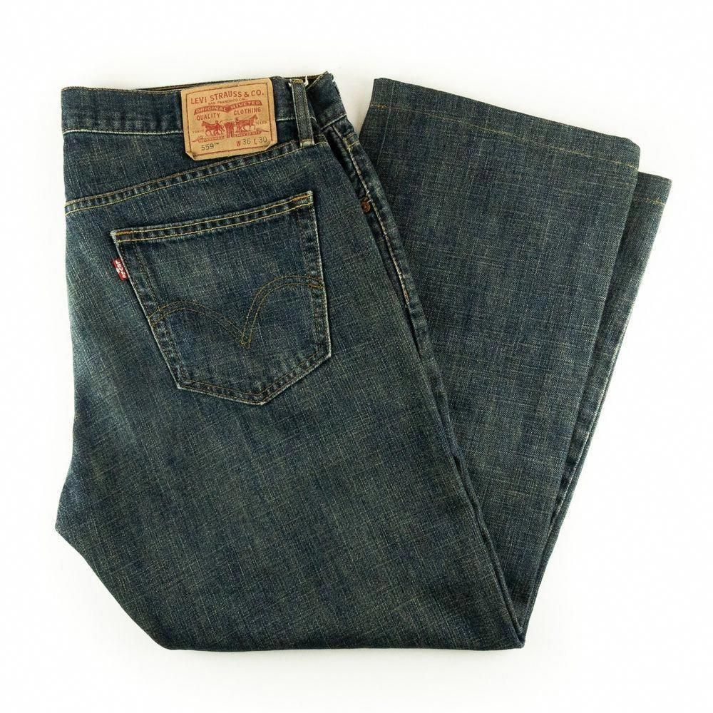 cf46706cd02b4 Levi s Strauss 559 Men s Jeans Relaxed Straight Dark Wash Blue Denim Sz W36  L27  fashion