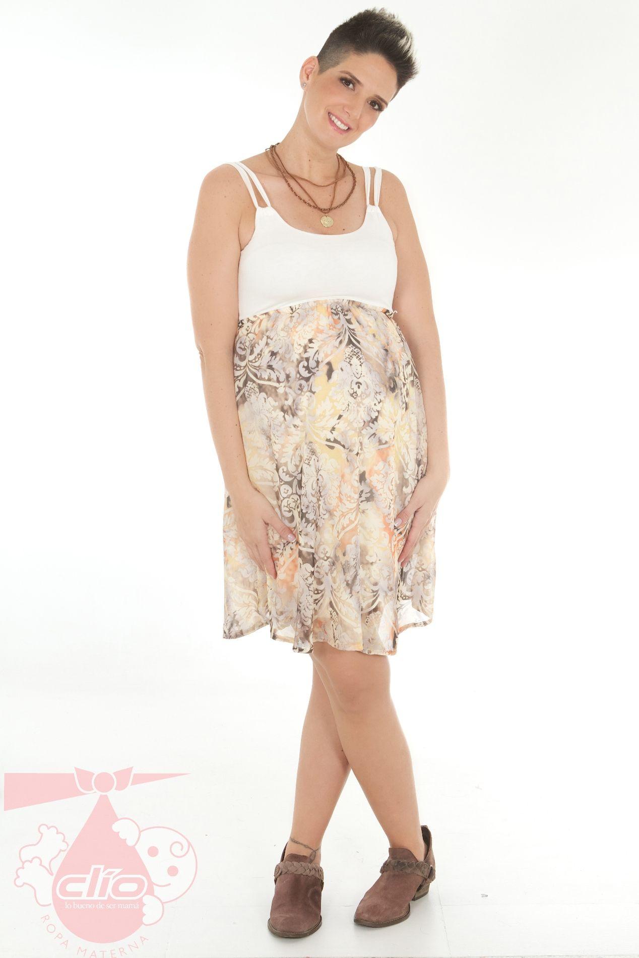bed8d3121  Ropa  materna con las tendencias de la  moda. Este  vestido  materno con  diseño corto es una excelente opción para estar fresca