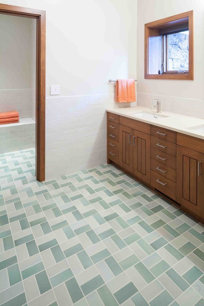 Rectangular Tile Patterns Bathroom Rustic With Heath Ceramics Trim