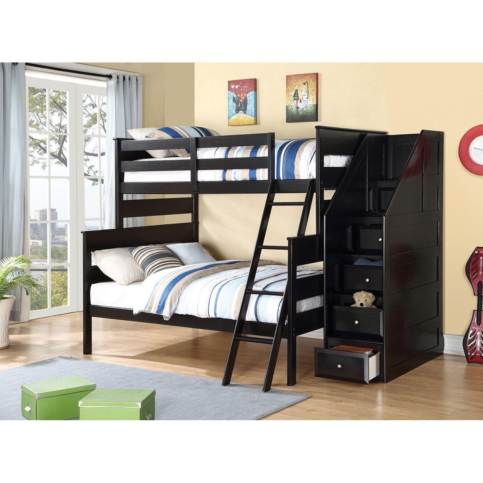 Acme Furniture Alvis Twin Over Full Bunk Bed Black Full Bunk