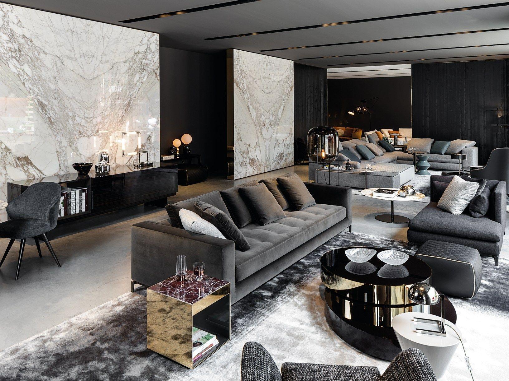 Mobili minotti ~ Grey cement dark wood marble clad walls new minotti showroom in