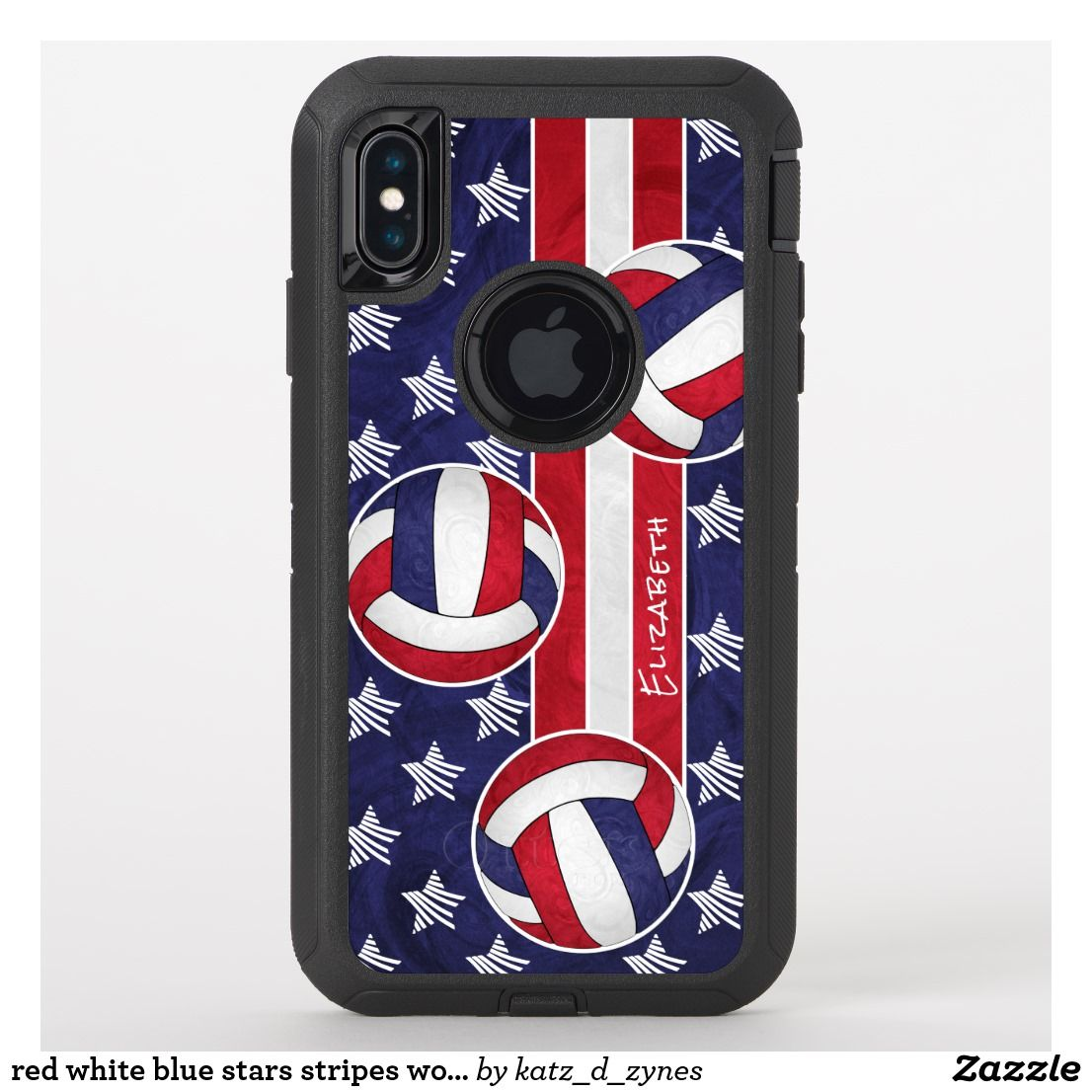 Red White Blue Stars Stripes Women S Volleyball Otterbox Iphone Case Zazzle Com Red And White Volleyball Player Gifts Red White Blue