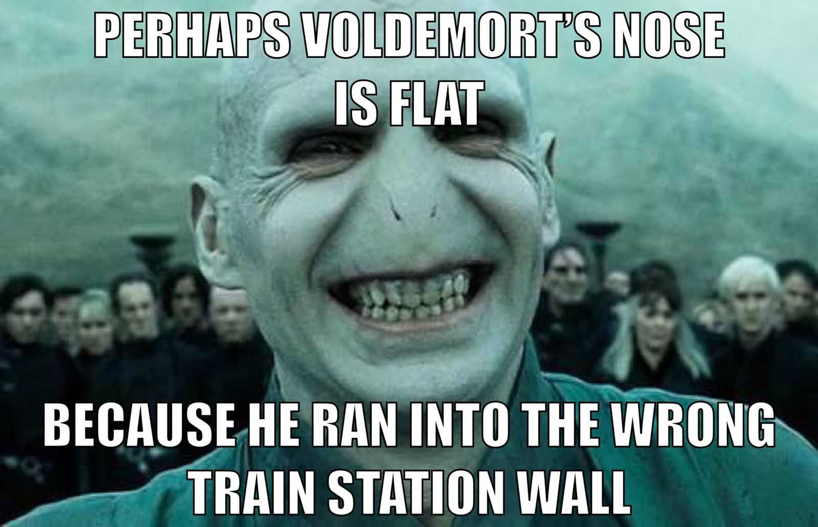 Perhaps Voldemort S Nose Is Flat Because He Ran Into The Wrong Train Station Wall In 2021 Harry Potter Voldemort Harry Potter Jokes Funny Harry Potter Jokes