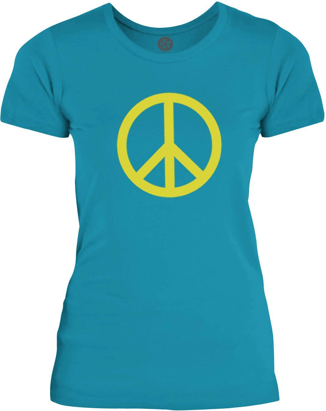 Big Texas Small Peace Sign Yellow Womens Fine Jersey T