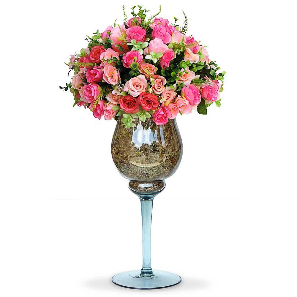 Arranjo De Flores Artificiais Rosas Mistas Na Taca De Vidro Grande