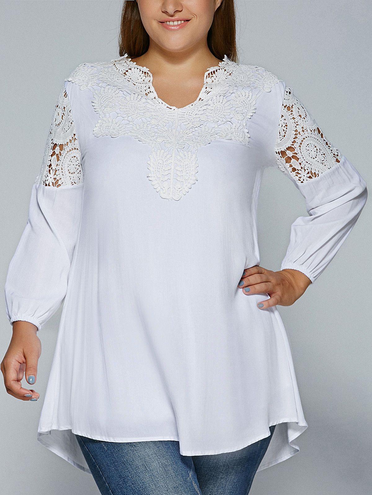 1632 Plus Size Crochet Lace Splicing Blouse Full Figured Fashion