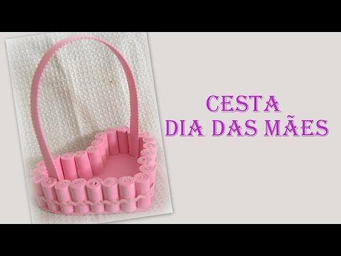 DIY- Cesta de coração com rolinhos de EVA P/ DIA DAS MÃES - YouTube