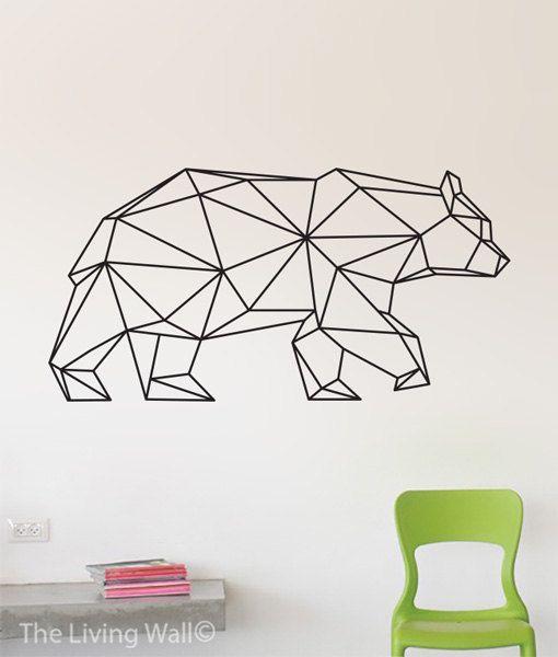16e1ddfdfd Geometric Bear Wall Decal, Geometric Animals Decor Bear Wall Art ...