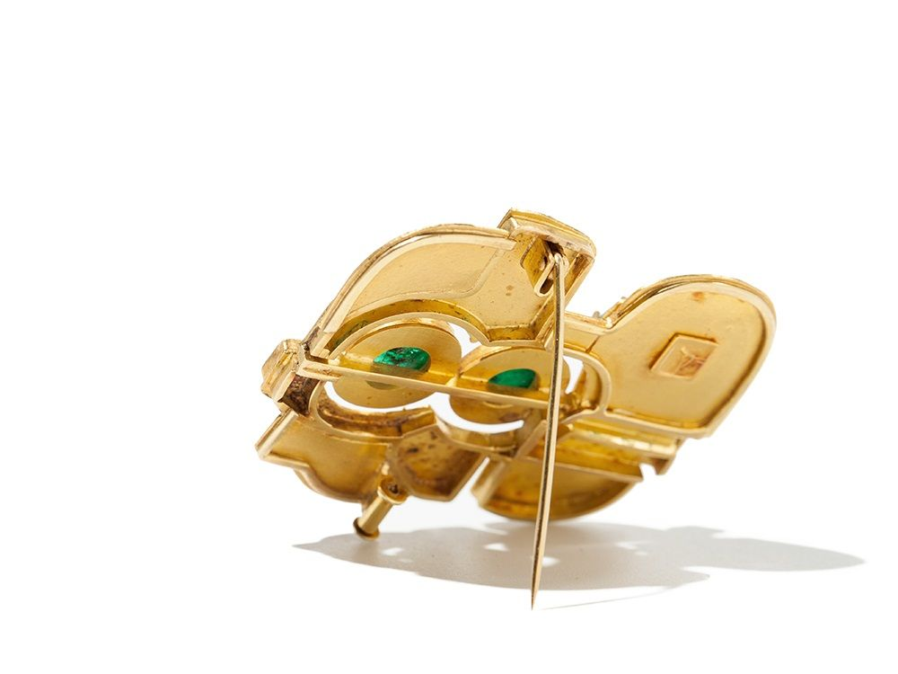 Hermann Jünger Gold Brooch with Emeralds and Enamel, 1960/70   Auctionata