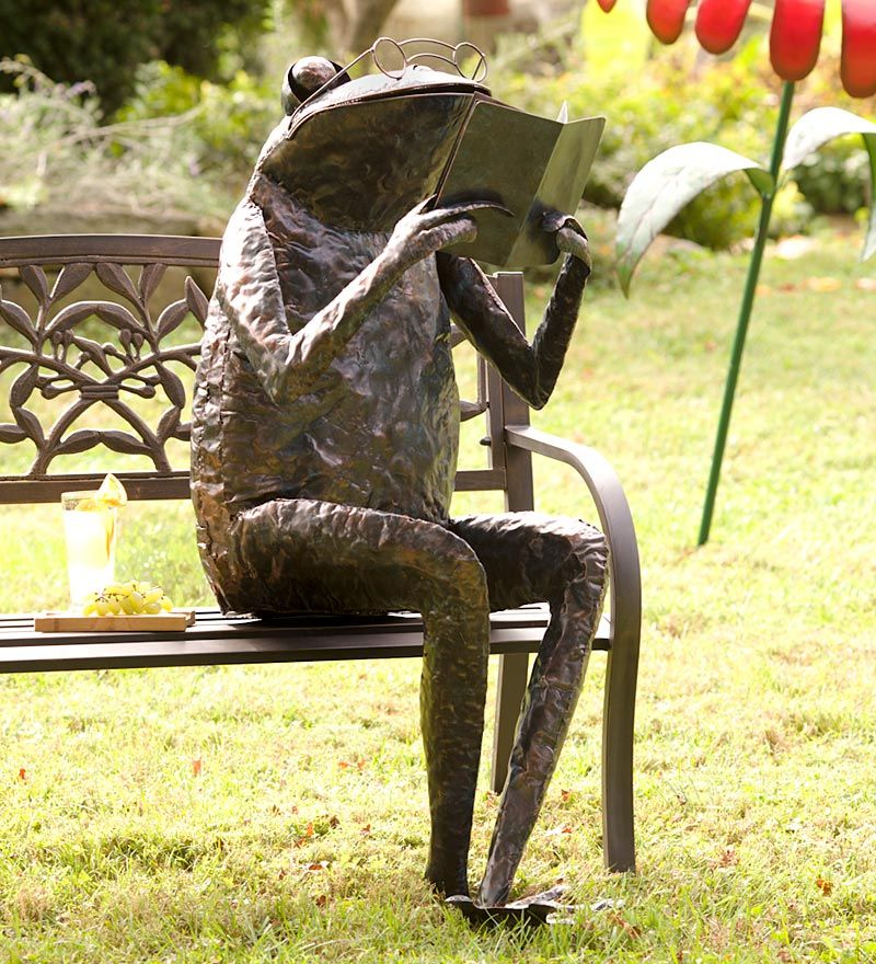 Giant Metal Reading Frog Sculpture Grandgardens With