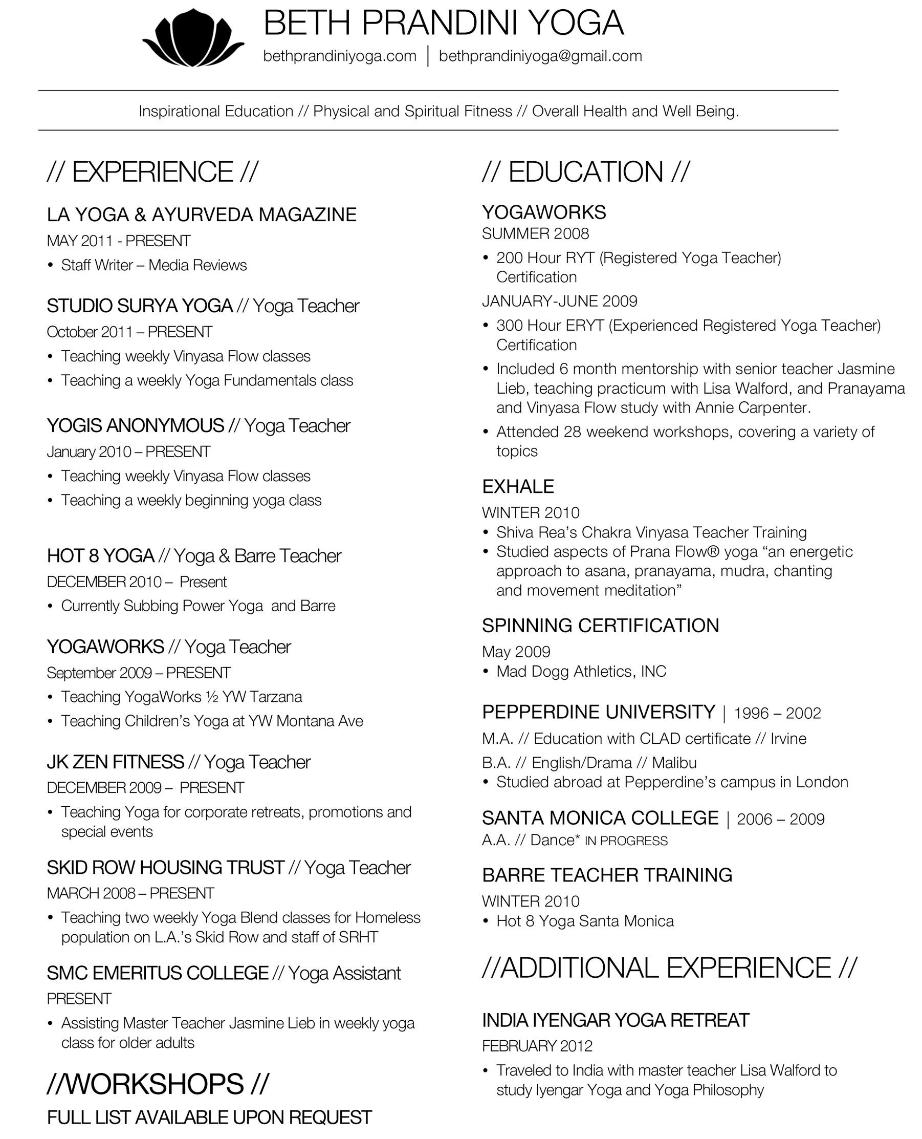 Yoga Resume Example