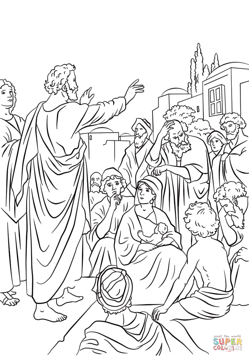 Peter Preaching At Pentecost Coloring Page Free Printable Coloring Pages Coloring Pages Bible Coloring Free Printable Coloring