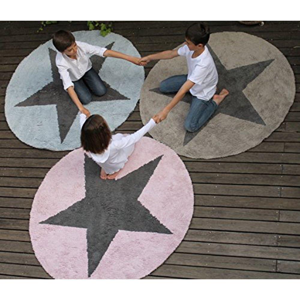 Villa-Sternenstaub   Teppich Stern pink/dunkelgrau rund, wendbar ...