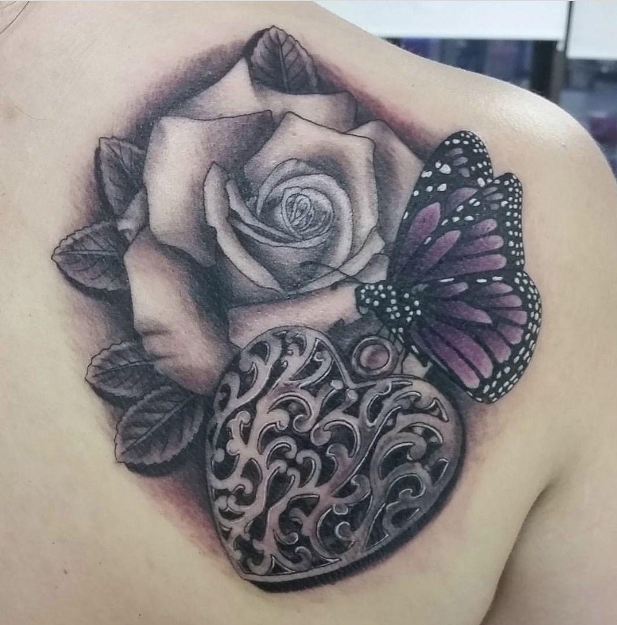 c780c93263921 Butterfly/Rose/Heart locket shoulder piece | Tattoo ideas | Back ...