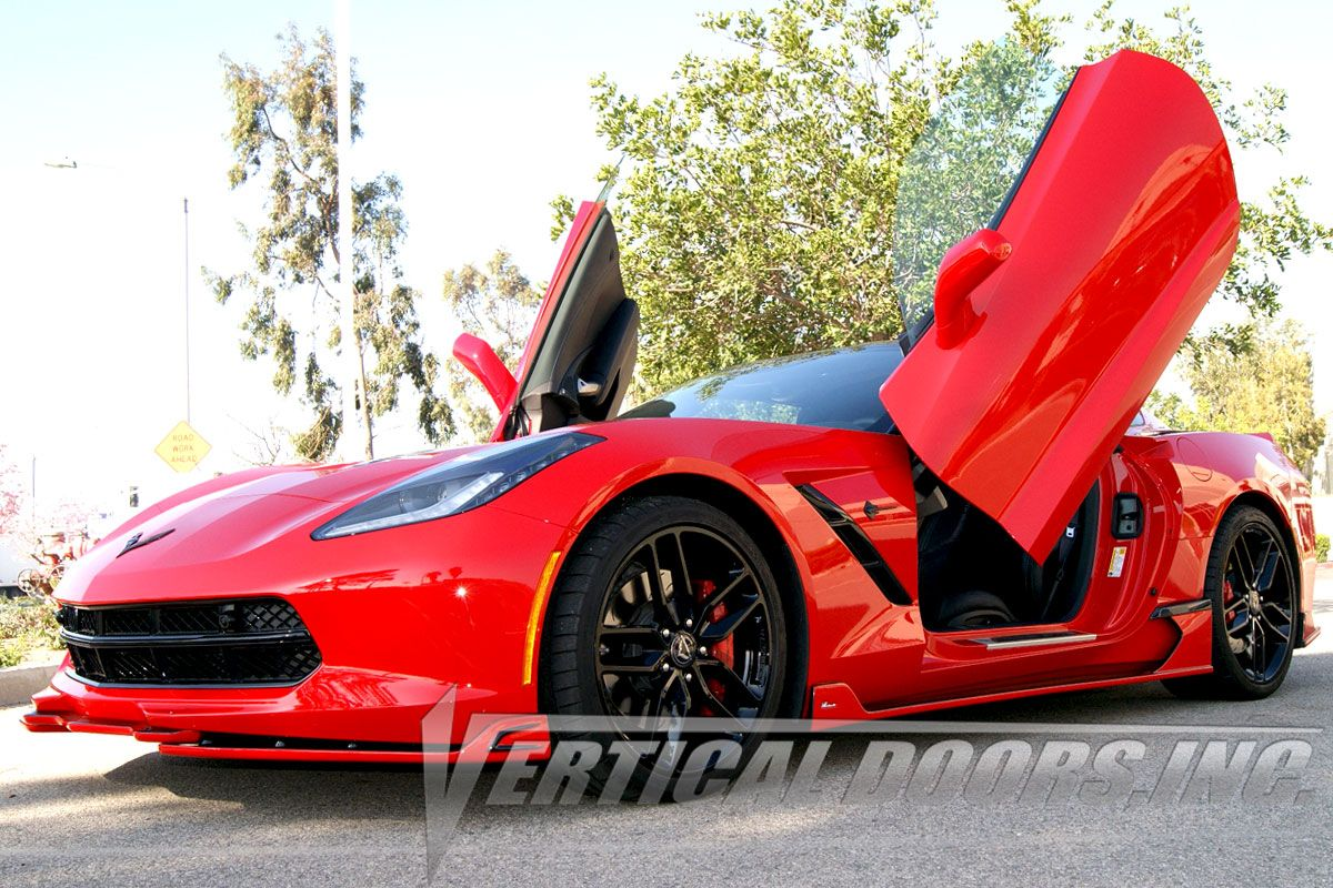 Check Out The Chevrolet Corvette C7 With The Stylish And Strongest Lambo Doors By Vertical Doors Take Advantag Chevrolet Corvette C7 Vertical Doors Corvette C7