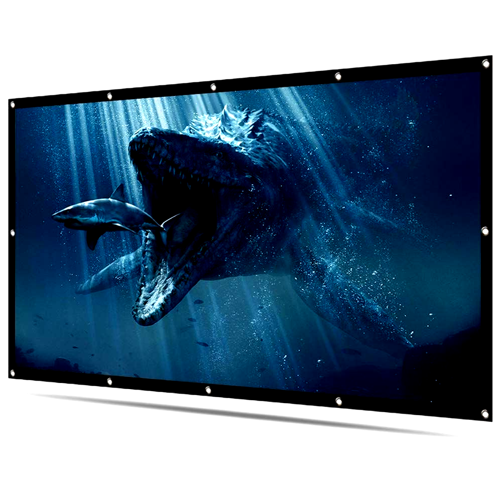 Latit Projector Screen 120 Inch 16 9 Hd Foldable Anti Crease Double Sided Projection Movies Screens For Projectors At H Projector Screen Projector Movie Screen