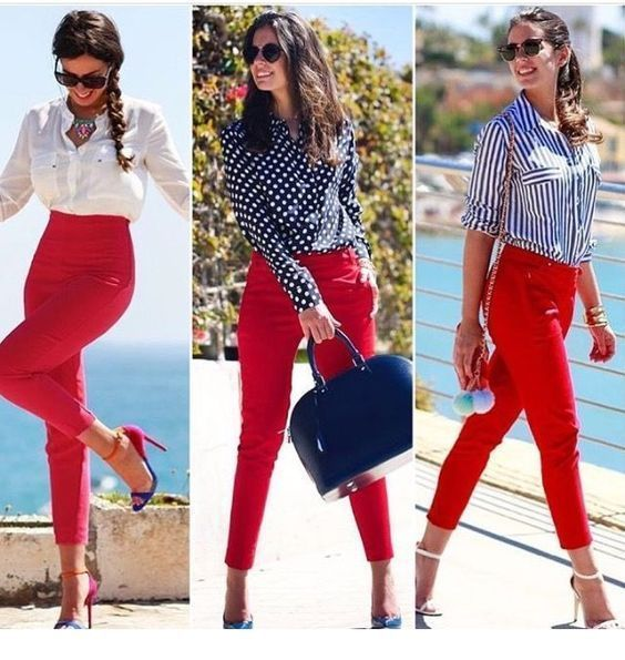 Nice looks with red pants  PIN Blogger is part of Work outfit - Nice looks with red pants, You can collect images you discovered organize them, add your own ideas to your collections and share with other people