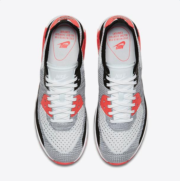 low priced 11efa 99deb Chaussure Nike Air Max 90 Pas Cher Femme Femme Ultra 2 0 Flyknit Blanc  Cramoisi Brillant