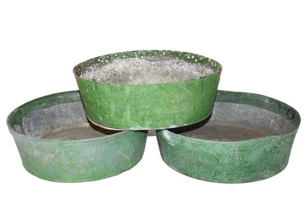 Three distressed green galvenized round buckets. Would be fabulous filled for Spring.