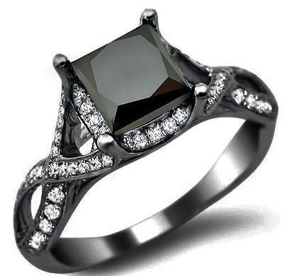 2.40ct Black Princess Cut Diamond Engagement Ring 18k Black Gold / Front Jewelers