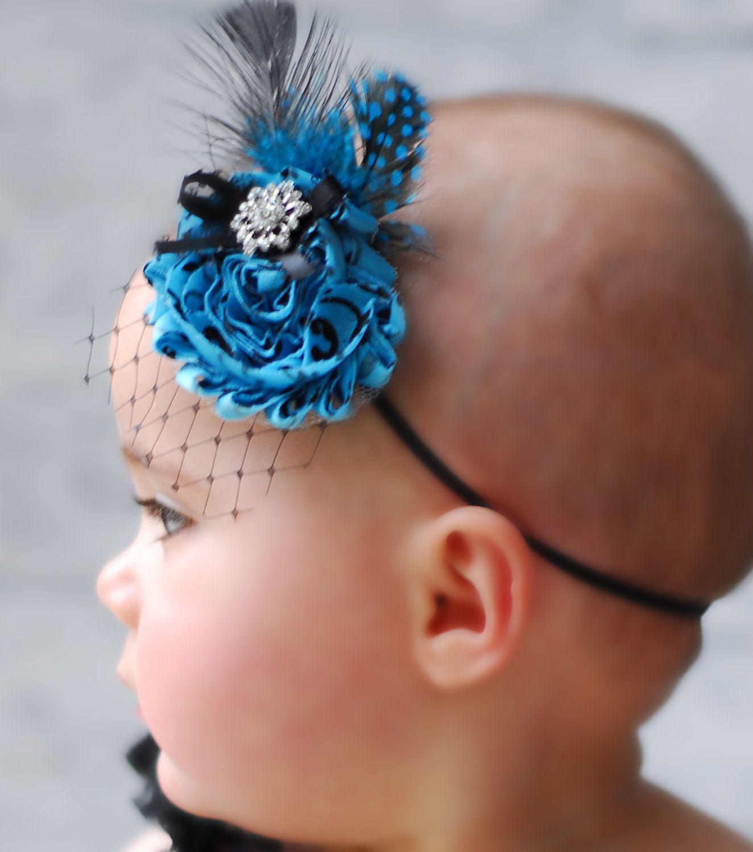 Best deal tealand black flower headband baby headband