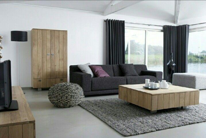 Woonkamer Houten Meubels : Gietvloer woonkamer met houten meubels vloeren in